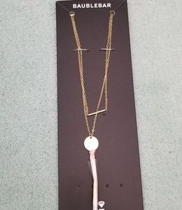 NWT Bauble Bar Gold Necklace with Pink Tassel
